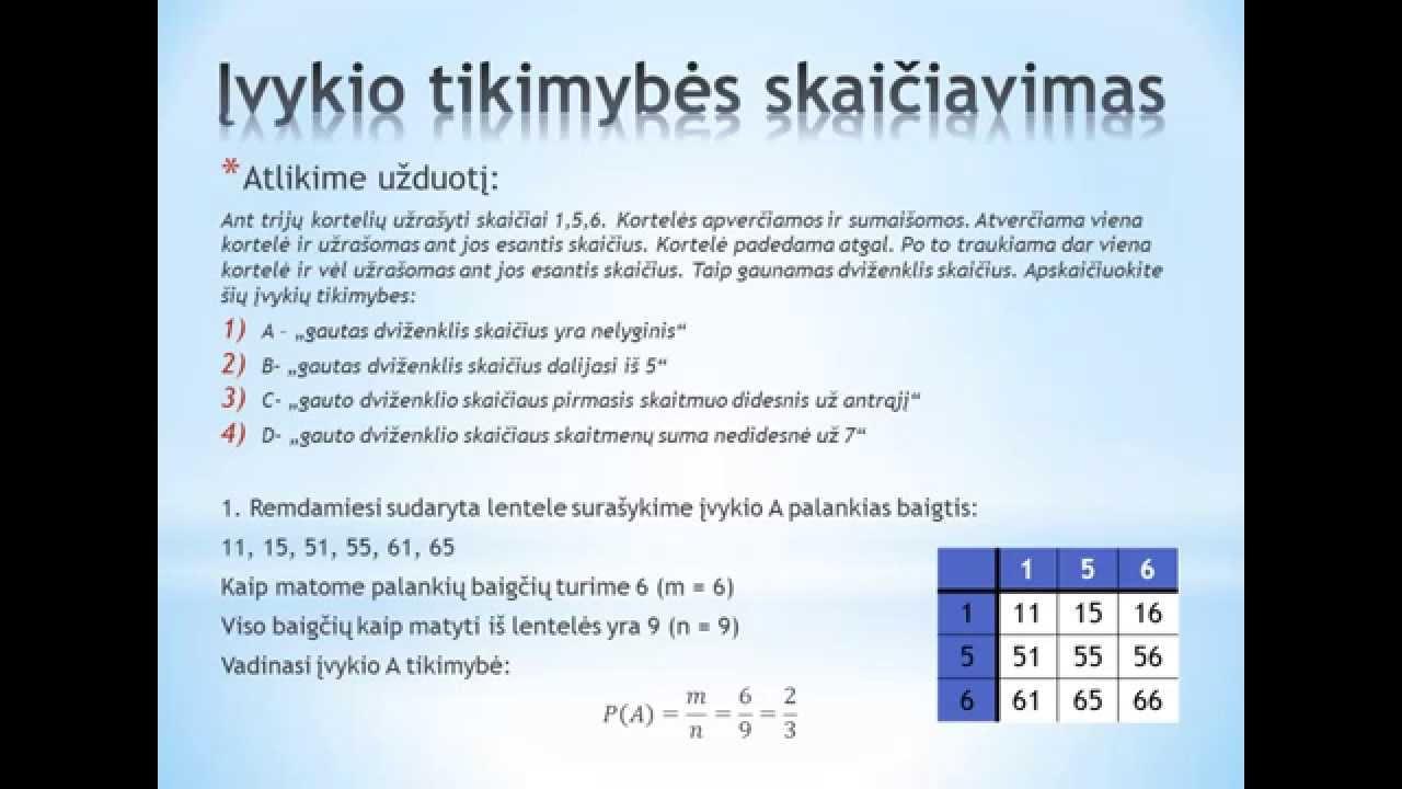 Dvejetainių variantų matematikos analizė.
